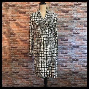 The Limited Houndstooth Print Faux Wrap Dress